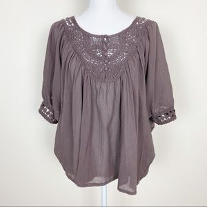 {Anthro} Floreat boho brown crocheted top